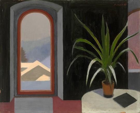 »Winterliches Interieur«, 1987, Tempera auf Hartfaser, 65 × 80 cm