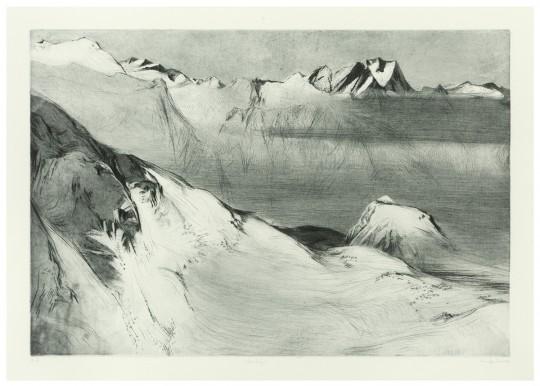 »Wilder Freiger«, 2009, Kaltnadel / Aquatinta 45 × 70 cm / 54 × 78 cm