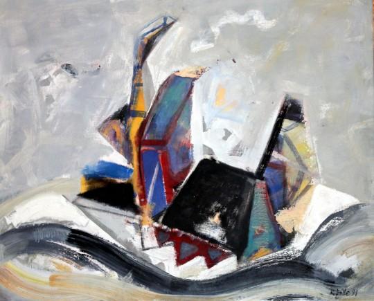 »Seeräuber«, 1991, Öl auf Hartfaser, 62 × 77 cm