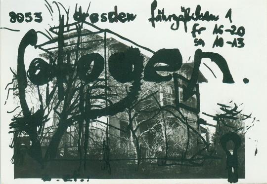 Postkarte der Galerie »fotogen«, Siebdruck über Fotografie, 1986