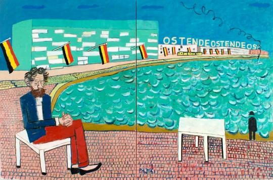 »James Ensor träumt Magritte«, 2006, Öl auf Leinwand, 180 × 360 cm