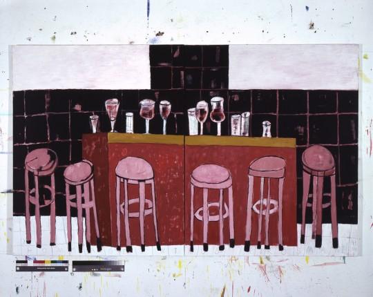 »Für Niko Pirosmani«, 2005, Öl auf Leinwand, 140 × 230 cm