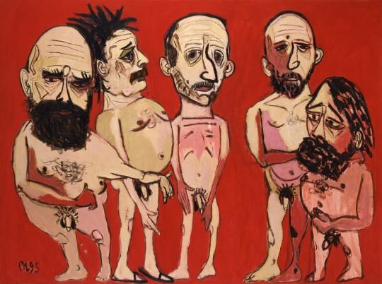 »Kampfgruppe«, 1995, Öl auf Leinwand, 185 × 250 cm