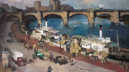 »Anlegestelle Brühlsche Terrasse«, 1952, Öl auf Leinwand, 70 × 127 cm