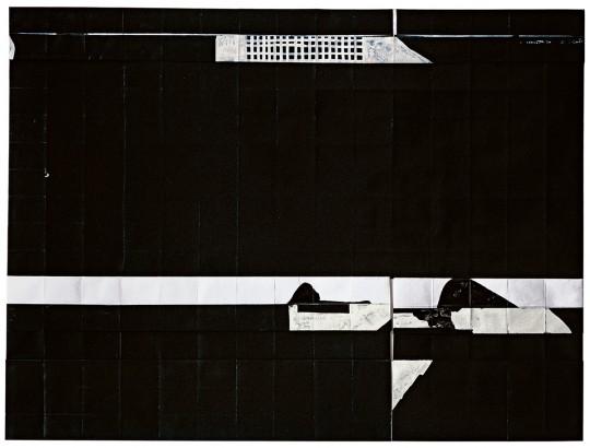 »o. T.«, 2011, Faltung, Tusche, Gouache, 35 × 46 cm