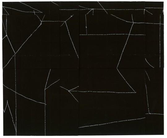 »o. T.«, 2013, Faltung, Kreide, Gouache, 44 × 52 cm