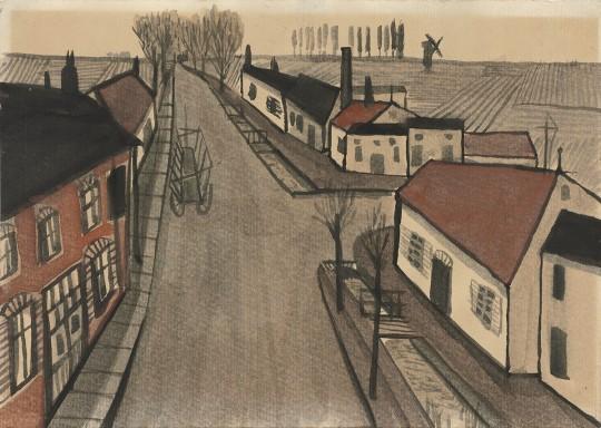 »Dorfstraße«, um 1958, Aquarell und Tusche, 14,8 × 20,9 cm