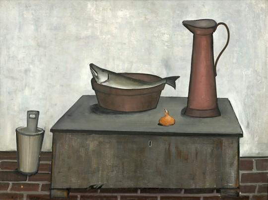 »Stilleben mit Kanne und Schüssel« 50er Jahre, Öl auf Pappe, 74,5 × 99 cm