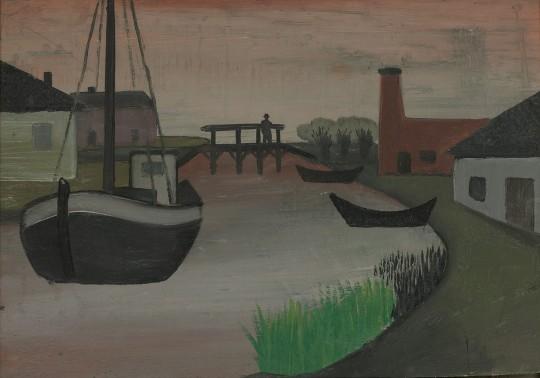»Landschaft mit Spaziergänger auf Brücke, Häusern und Booten«, o.J., Öl auf Hartfaser, 36 × 53 cm