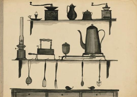 »Küchenstilleben«, um 1955, Tusche auf Papier, 29,7 × 42 cm