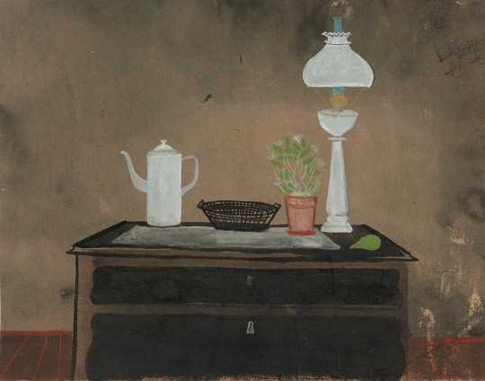 »Kommode mit Petroleumlampe, Kanne und Korb«, um 1955, Mischtechnik auf braunem Karton, 23 × 29,4 cm