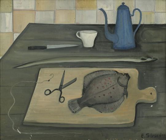 »Stilleben mit blauer Kanne«, o.J., Öl auf Pappe, 68,5 × 80,5 cm
