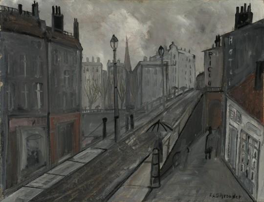 »Straße in Paris«, 50er Jahre, Öl auf Schichtenpappe, 56,5 × 74,5 cm
