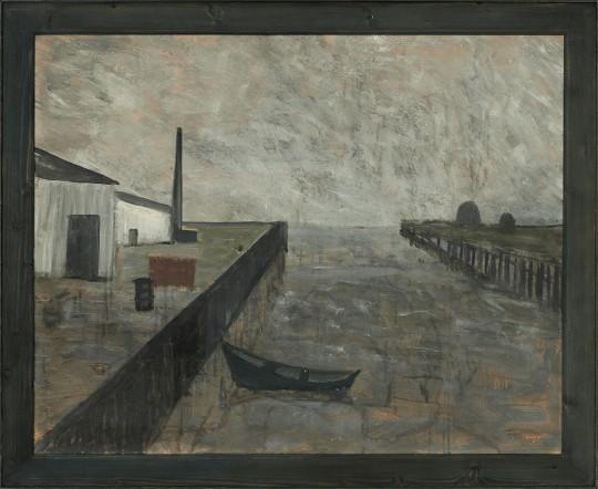 »Hafenausfahrt«, um 1955, Öl auf Pappe, 59,5 × 74,5 cm