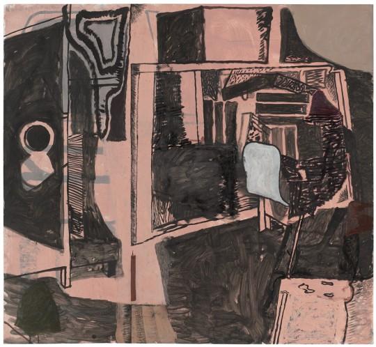 »Orakel«, 2014, Öl und Acryl auf Papier, 120 × 130 cm