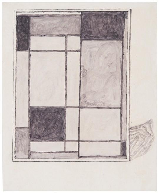 »Mondrian«, 2014, Papier, Klebeband und Wasserfarbe auf Leinwand, 56 × 46 cm