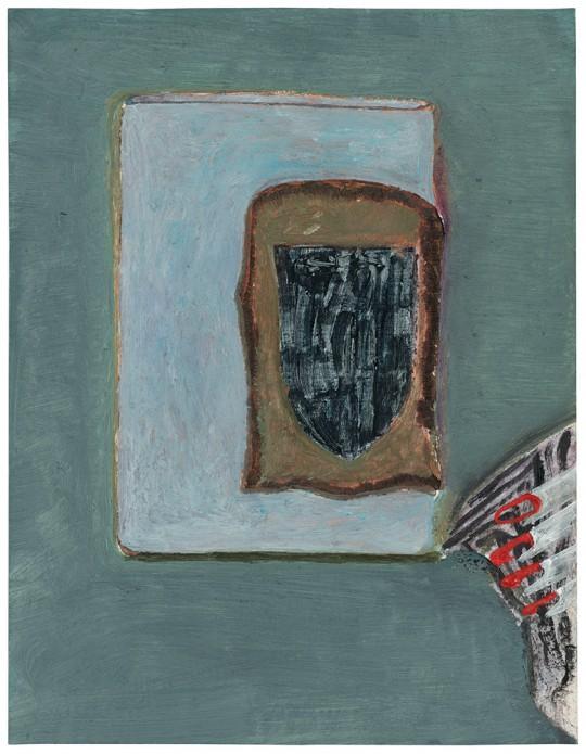 »Tasse Sachsen« (aus der Serie: neue Sachlichkeit), 2015, Öl auf Papier, 32,5 × 25 cm