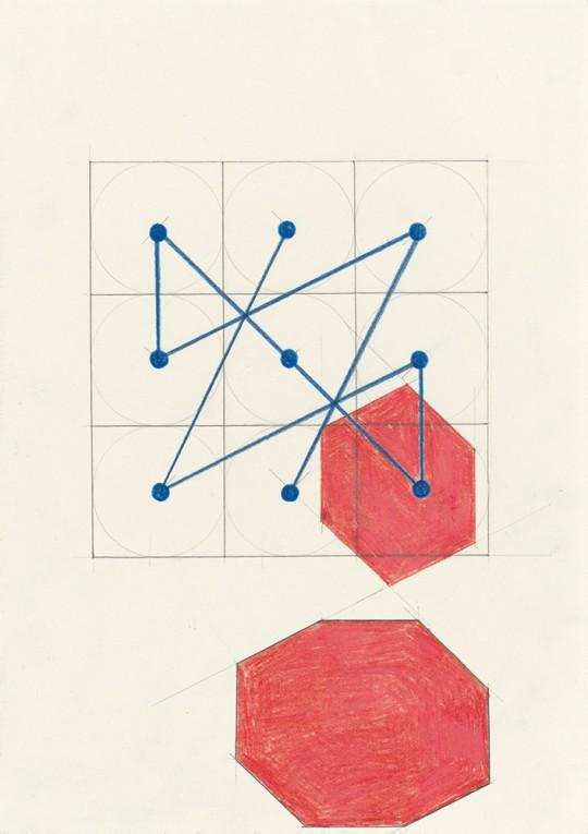 »Magisches Quadrat (Nr. 3)«, 2014, Bleistift, Buntstift auf Papier, 29,7 × 21 cm