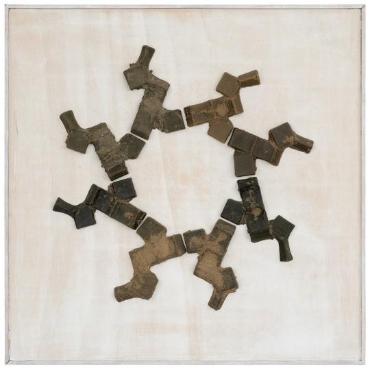 »21 Kreise, aus Varianten zum Würfel«, 1998, Wachs auf Holz, 89,5 × 89,5 cm