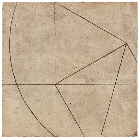 »Ritzzeichnung II (Nr. 28)«, 2011/12, Gips, Pigment, Holz, 30 × 30 cm