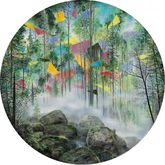 »Gipfel«, 2015, Pastell und Kohle auf MDF, d 130 cm