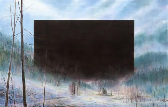 »New Year«, 2016, Pastell und Kohle auf MDF, 160 × 250 cm