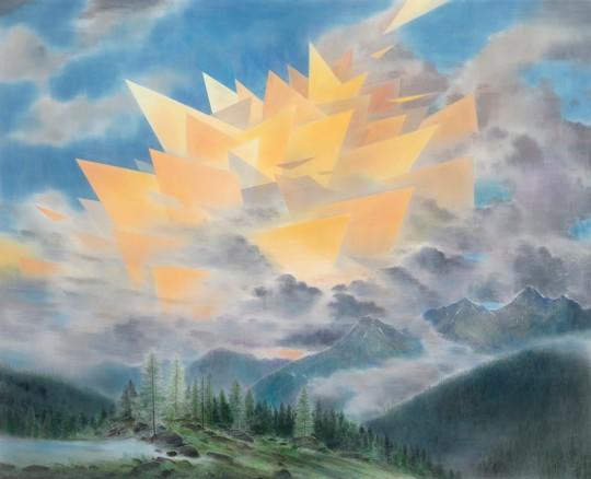 »Afterglow«, 2016, Pastell und Kohle auf MDF, 145 × 180 cm