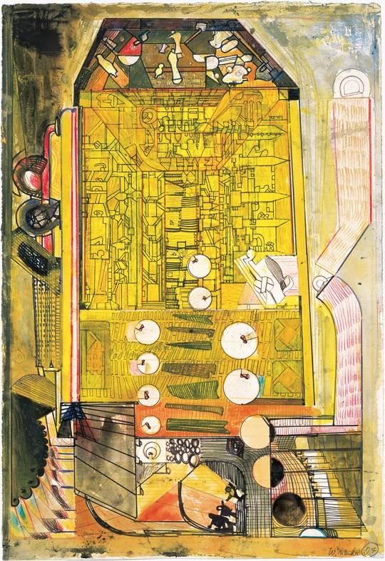 »Gelbes Haus«, 2007, Mischtechnik, 56 × 38,2 cm