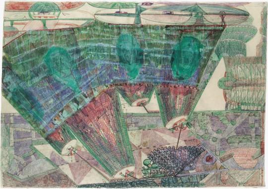 »Kontinente wandern«, 2007, Mischtechnik auf Papier, 60,3 × 86 cm
