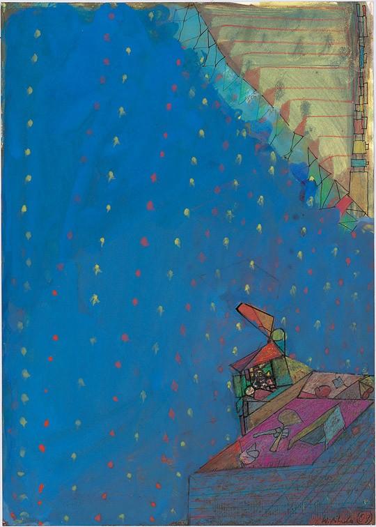 »Schlucht, blau, mit gelben und roten Punkten«, 2009, Mischtechnik, 41,7 × 29,5 cm