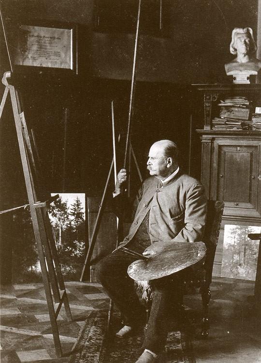 Eduard Leonhardi in seinem Atelier um 1890