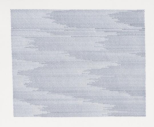 »o.T.«, 2015, indigoblaue Tusche auf Zeichenkarton, 41 × 50 cm