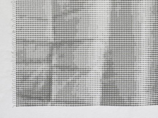 »Tuch« (Detail), 2015, maschinenbestickter Baumwollstoff, bestickte Fläche 120 × 90 cm, unterstützt vom Institut für Textilmaschinen und Textile Hochleistungswerkstofftechnik der TU Dresden, Zusammenarbeit, digitale Bearbeitung und Stickdatei: Jörg Thomas Woite