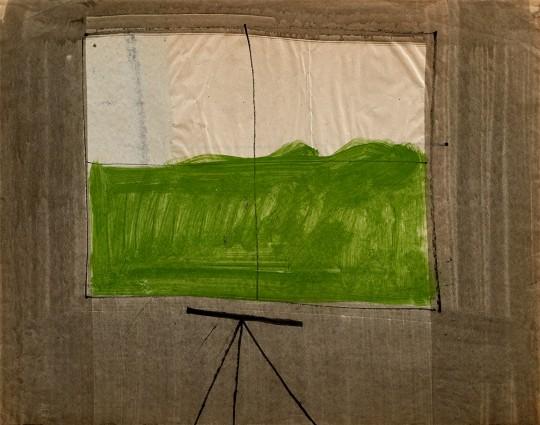 »Fenster mit Zeichentisch«, ca. 1964 – 1966, Aquarell, Tusche auf Papier, 50 × 63 cm