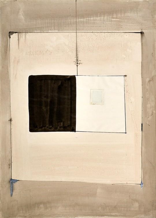 »Frühe Wand«, o.J., Tusche, Collage auf Papier, 70 × 50 cm