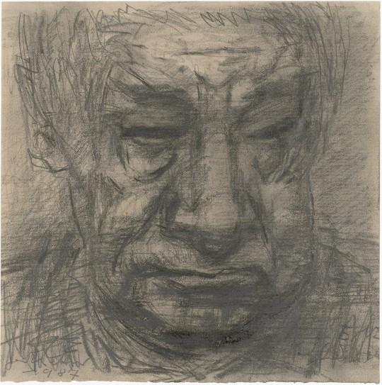 »Selbstbildnis nach rechts«, 1987, Grafit, 18,7 × 18,5 cm