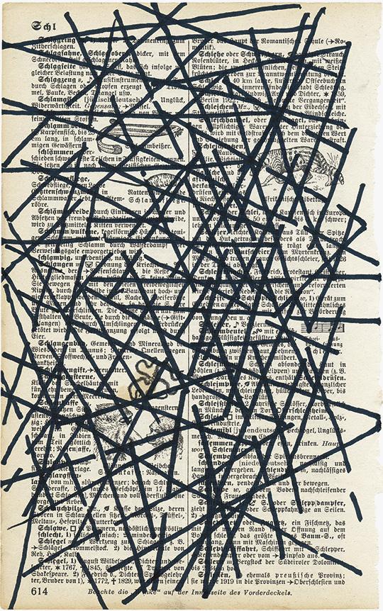 Überzeichnung, 2019, Lexikonseite/Permanentmarker, 20,8 × 13 cm
