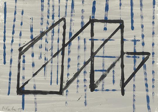 Gerüst, 2019, Acrylfarbe/Papier, 50 × 70 cm