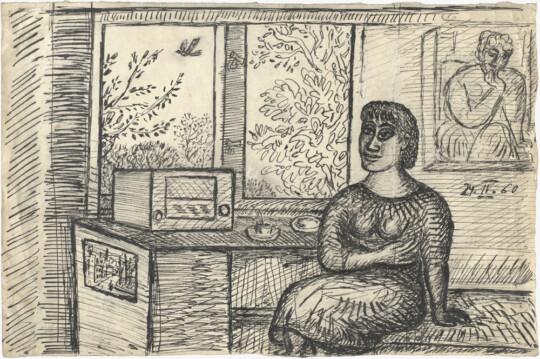 »o.T. (24.IV. 60)«, 1960, Tusche auf Papier, 24,4 × 36,7 cm (Foto: Herbert Boswank)