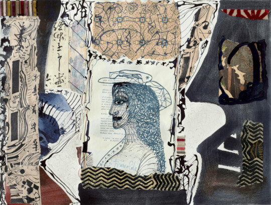 »o.T.«, 2015, Mischtechnik auf Karton, Collage, 46 × 60 cm (Foto: Herbert Boswank)