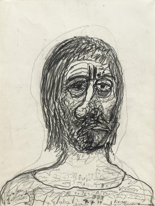 »o.T. (alleine, 7.7.77)«; 1977; Kohle, Filzstift, Kugelschreiber auf Karton; 48 × 36 cm (Foto: Herbert Boswank)